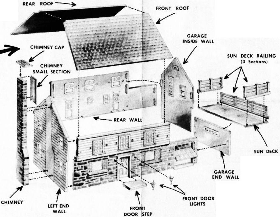 Figure #3 Colonial House Brick Chimney Sun Deck Railing Garage Roof