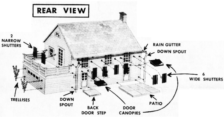 Figure #5 Colonial House Rear View Trellises Back Door Step Canopies Patio