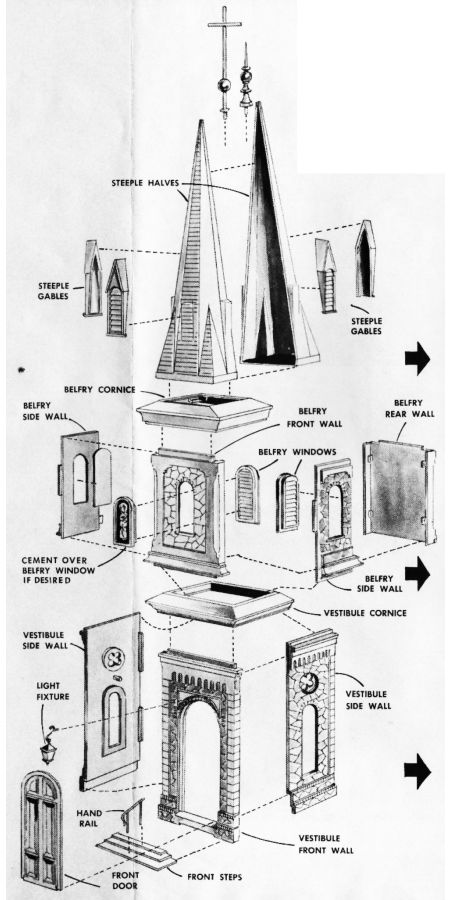 Figure #1 Church Vestibule Walls Belfry Cornice Steeple Gables