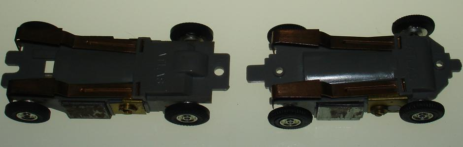 Atlas HO Scale Slimline Midget Chassis Comparison Pickup Shoes View