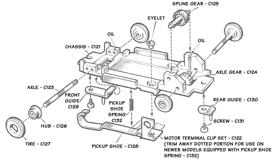 Atlas HO Scale Slot Car Chassis Exploded Schematic