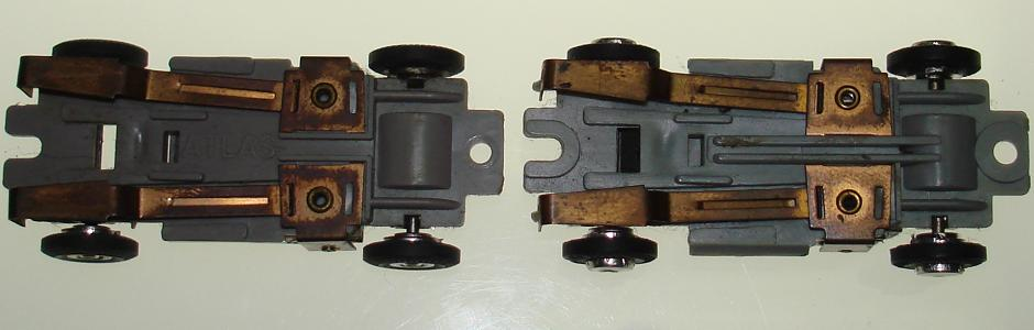 Atlas HO Scale ZINGERS Chassis Version One Two Comparison Pickup Shoes View