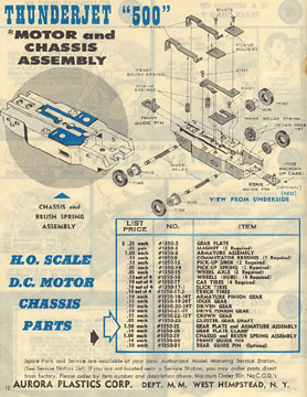 1963 Aurora Model Motoring Thunderjet 500 Service Manual Page 10