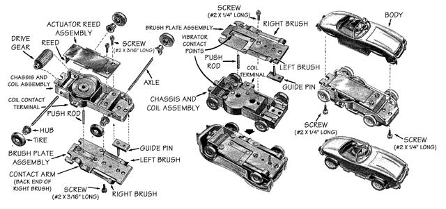 Aurora Model Motoring Vibrator Slot Car Chassis Exploded View